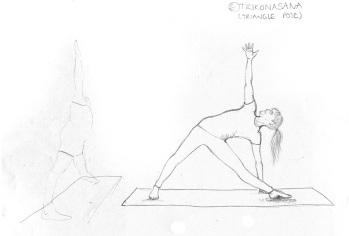Trikonasana - Pencil Sketch